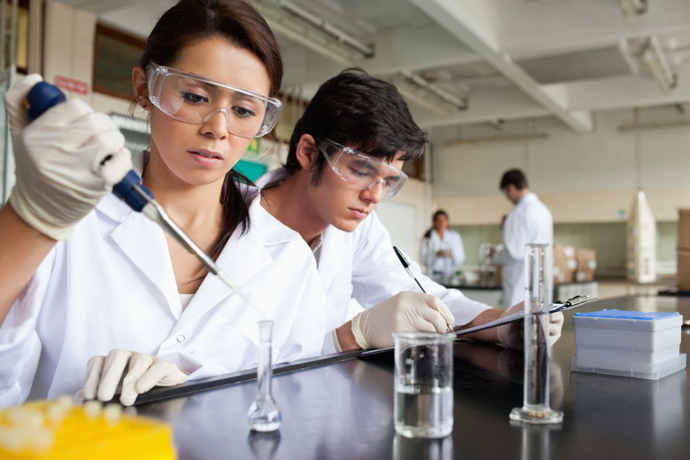 Serious science students working in a laboratory